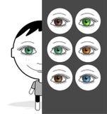 Großes Augenmädchen u. farbige Augen Lizenzfreie Stockbilder