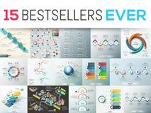 Großes Bündel von 15 modernen infographic Designschablonen Lizenzfreies Stockbild