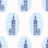 Großes Ben Clock Tower nahtloses Vektormuster Vignetten-Londons berühmt vektor abbildung
