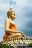 Großes Buddha-Bild mit bewölktem Himmel Stockbild