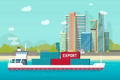 Großes Containerschiffsegeln im Ozean- oder Seehafen mit vielen Frachtbehältern vector Illustration, flachen Kartonversand Stockfotografie