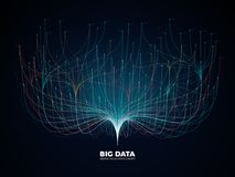 Großes Datennetz-Sichtbarmachungskonzept Digital-Musikindustrie, Vektorhintergrund der abstrakten Wissenschaft stock abbildung