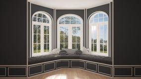 Großes Fenster mit Gartenwiesenpanorama, unbedeutender leerer Raum, lizenzfreies stockfoto