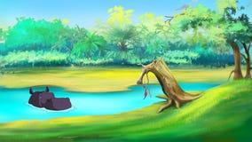 Großes Flusspferd in einem Fluss vektor abbildung