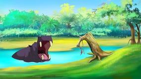 Großes Flusspferd in einem Fluss-offenen Mund lizenzfreie abbildung