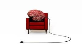 Großes Gehirn, das in einem roten Lehnsessel sich entspannt Lizenzfreie Stockbilder