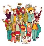 Großes glückliches Familiengruppen-Stellungsisolat auf Weiß Stockbild