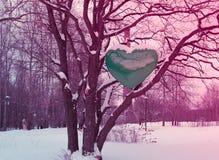 Großes grünes Herz auf dem Holz, Erhaltung der Natur, Ökologie Lizenzfreies Stockfoto