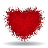 Großes heißes rotes ährentragendes Herz Stockfoto