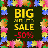 Großes Herbstverkaufsdesign-Schablonenplakat Stockfoto