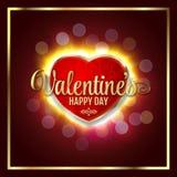Großes Herz mit dem glücklichen Tag Zeichen Valentinsgrüße, glühend in Dunkles, verwischte defocus lifgts lizenzfreie abbildung