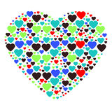 Großes Herz verfasst von den kleinen Herzen Lizenzfreie Stockfotografie