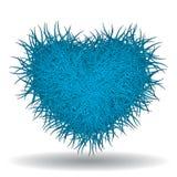 Großes kaltes blaues ährentragendes Herz Stockfotografie