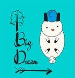 Großes kleines Traum Nettes Häschenfliegen auf einem Ballon mit Wolken und Sternen Baby, Kinder Plakat, Wandkunst, Karte, Babypar stockbild