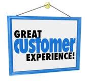 Großes Kunden-Erfahrungs-Wort-Speicher-Unternehmens-Zeichen Lizenzfreies Stockfoto
