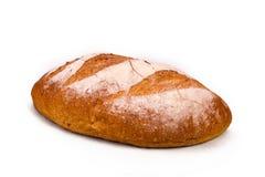 Großes Laib des französischen Brotes auf Weiß Stockfotos