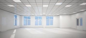 großes leeres weißes Büro 3D Stockbilder