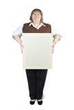Großes Mädchen hält unbelegtes Segeltuch an Lizenzfreie Stockfotografie
