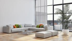 Großes modernes helles Innenraumwohnung Wohnzimmer Luxusillus stockfoto