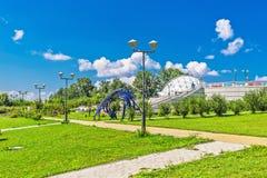 Großes Nowosibirsk-Planetarium Parklandplanetariums-Öffentlichkeit acces Lizenzfreie Stockfotografie