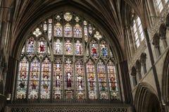 Großes Ostfenster des 14 Jahrhunderts der Exeter-Kathedrale Stockbilder