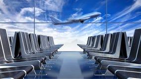 Großes Passagierflugzeug, das gegen das cloudscape gesehen von der Abfahrthalle sich entfernt stock video