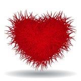 Großes rotes buschiges Herz lokalisiert auf weißem Hintergrund Lizenzfreie Stockfotografie