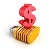 Großes rotes Dollar-Symbol mit Geld-Sicherheits-Vorhängeschloß vektor abbildung