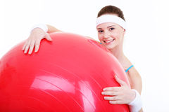 Großes rotes fitball Stockfoto