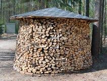 Großes rundes Brennholz vorbereitet in Wald Stockfoto