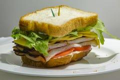 Großes Sandwich - Hamburgerburger mit Rindfleisch, Essiggurken, Tomate und r Stockfoto