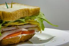 Großes Sandwich - Hamburgerburger mit Rindfleisch, Essiggurken, Tomate und r Lizenzfreie Stockfotos