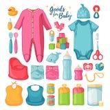 Großes Satzbabymaterial Netter Satz Sachen für childrenhood Lokalisierte Ikonen von Babywaren für Neugeborene Kleidung, Spielware Stockfotos