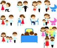 Großes Set Ikonen der Familienmitglieder Stockfoto