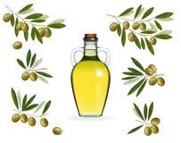 Großes Set mit grünen Oliven mit Flasche Schmieröl Lizenzfreie Stockfotografie