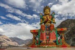 Großes sitzendes Buddha--Diskitkloster, Ladakh, Indien Stockfotografie