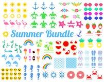 Großes Sommerbündel mit Gestaltungselementen Schildkröte, Sun, Seahorse, Meerjungfrauendstück, Regenbogen, Flamingo, Wassermelone vektor abbildung