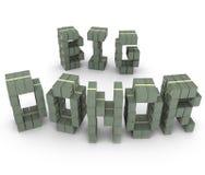Großes Spenderbargeld stapelt Stapel-Buchstabe-Wort-Mitwirkend-Geldbeschaffer Stockfoto