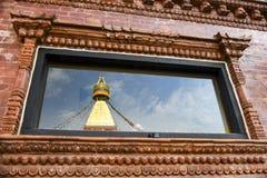 Großes stupa in Kathmandu, Nepal im Mai 2018 lizenzfreie stockbilder