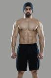 Großes Training Porträt des muskulösen Berufsbodybuilders und Stockbild