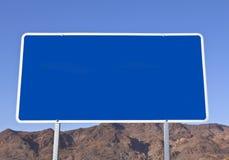 Großes unbelegtes blaues Zeichen Stockbilder