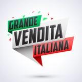 Großes vendita italiana - italienischer großer Verkaufsitalienertext Stockbild