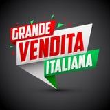 Großes vendita italiana - italienischer großer Verkaufsitalienertext Stockfotografie