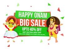 Großes Verkaufs-Plakat oder Fahne für Onam-Feier Stockfotos