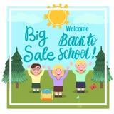 Großes Verkaufs-Willkommen zurück zu Schule Karikaturmädchen und -jungen draußen Vektor Abbildung