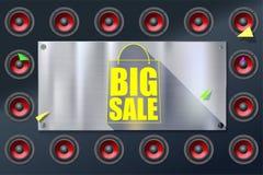 Großes Verkaufseinkaufstascheschattenbild mit langem Schatten Rabatt fünfzig Prozent Horizontales Metall, Stahlplatte auf Hinterg Lizenzfreies Stockbild