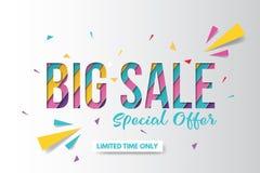 Großes Verkaufsfahnen-Schablonendesign Fahnendesign mit Papierschnitthintergrund Papierkunst- und Handwerksart lizenzfreie stockfotos