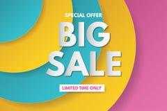 Großes Verkaufsfahnen-Schablonendesign Fahnendesign mit Papierschnitthintergrund Papierkunst- und Handwerksart stockfotos