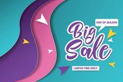 Großes Verkaufsfahnen-Schablonendesign Fahnendesign mit Papierschnitthintergrund Papierkunst- und Handwerksart stockbild