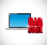 Großes VerkaufsLaptop-Computer Notizblockgeschäftszeichen Stockfoto